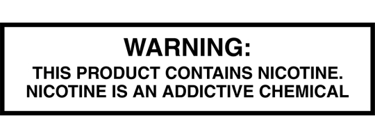 Warning label for vape products at Freedom Vapes, Leesburg, Fl