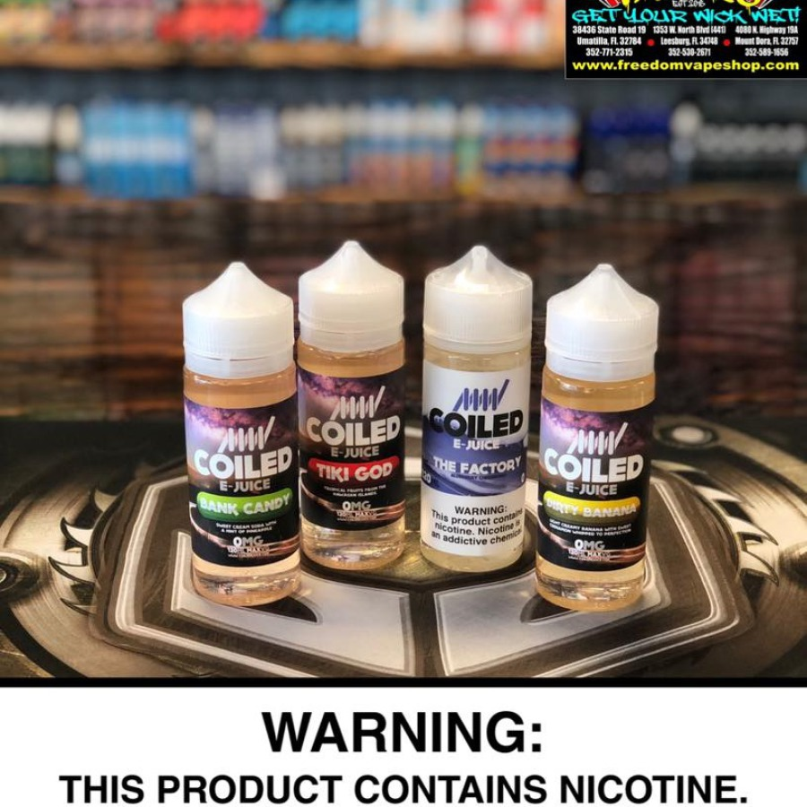 Coiled E-Juice, by Vapor Stockroom, available in 120 ml. Tiki God is tropical fruit flavors from the Hawaiian Islands  Bank Candy  is sweet cream soda with a hint of pineapple. The Factory is a blueberry cheesecake  and Dirty Banana  is light, creamy bana